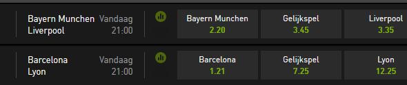 Bayern tegen Liverpool en Barcelona tegen Lyon bij Bet 777