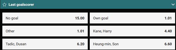 Wie scoort laatst in de wedstrijd Ajax - Tottenham bij b-Bets?