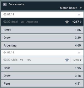 quoteringen halve finale Copa America: Brazilie Argentinie