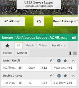 Odds AZ- Royal Antwerp wedden in Europa League