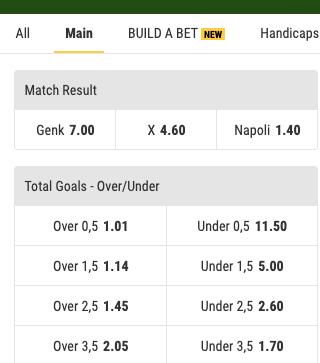 Ga gokken op de Genk - Napoli odds