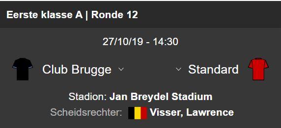 Club Brugge ontvangt Standard!