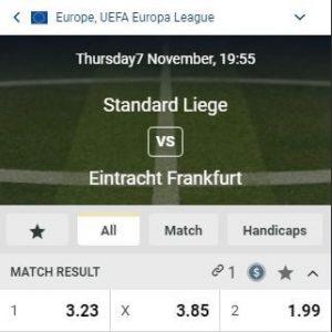 Europa League 2019 Standard tegen Eintracht Frankfurt