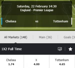 odds chelsea tottenham premier league