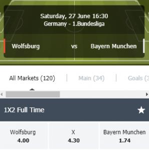 Simplecasino odds bij Wolfsburg- Bayern