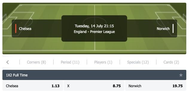 Chelsea Norwich odds PL