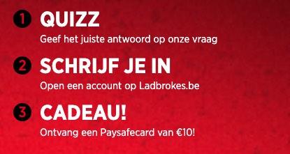 Krijg een 10 euro paysafecard bij Ladbrokes!