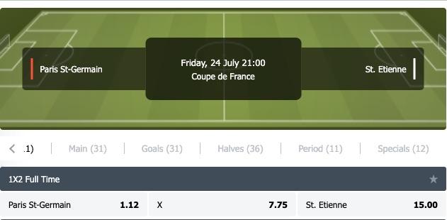 PSG - St Etienne finale odds