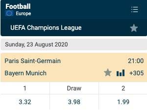 Dit zijn de Champions League finale odds 2020 tussen PSG & Bayern