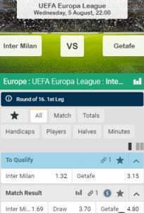 wed nu op inter tegen Getafe Europa League
