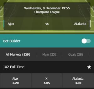 Fastbet odds bij Ajax Atalanta