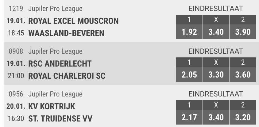Meridianbet odds op voetbal in de Pro League