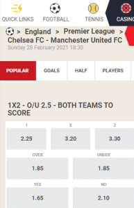 chelsea manchester united odds 28-02-2021