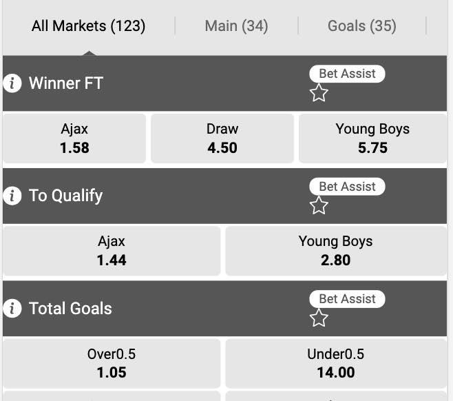 Dit zijn de odds om te wedden op Ajax - Young boys
