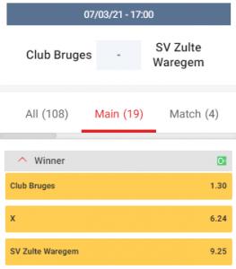 wedden op club brugge zulte waregem odds 07-03-2021
