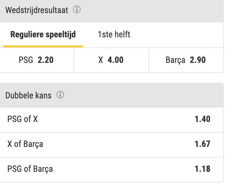 PSG - Barca odds voor 90 minuten