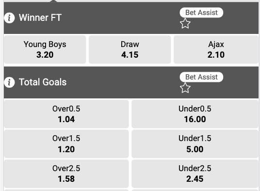 Young Boys - Ajax odds Europa League