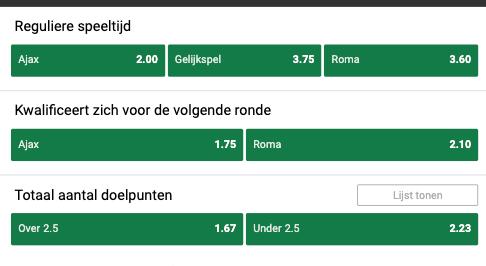 Ajax Roma odds EL