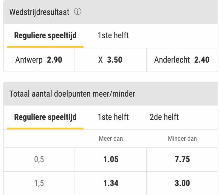 Antwerp - Anderlecht odds in de Jupiler Pro League