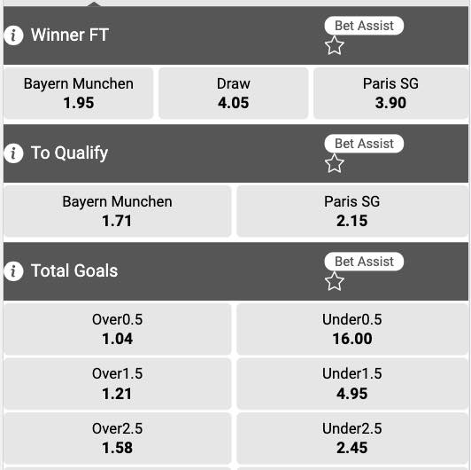 Wedden op Bayern - PSG