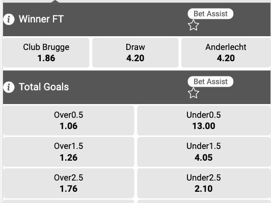 Club Brugge - Anderlecht odds Jupiler Pro League
