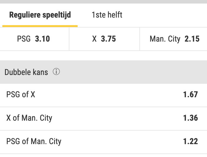 PSG - Manchester city halve finale odds CL