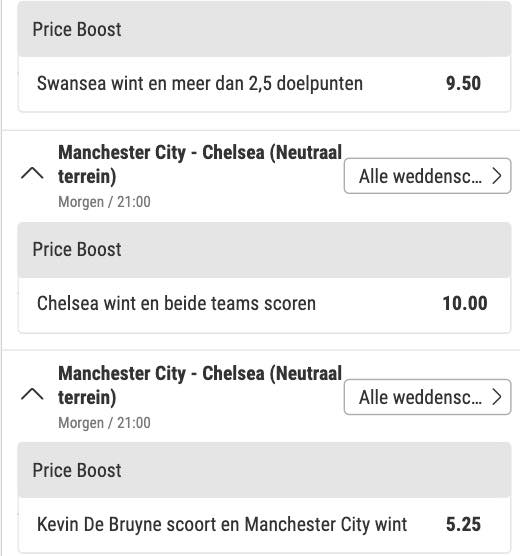 Bwin price boost voor Champions League finale Manchester City - Chelsea