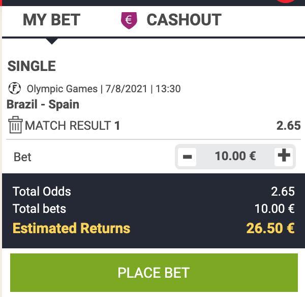 Brazilie - Spanje odds in de Olympische Spelen